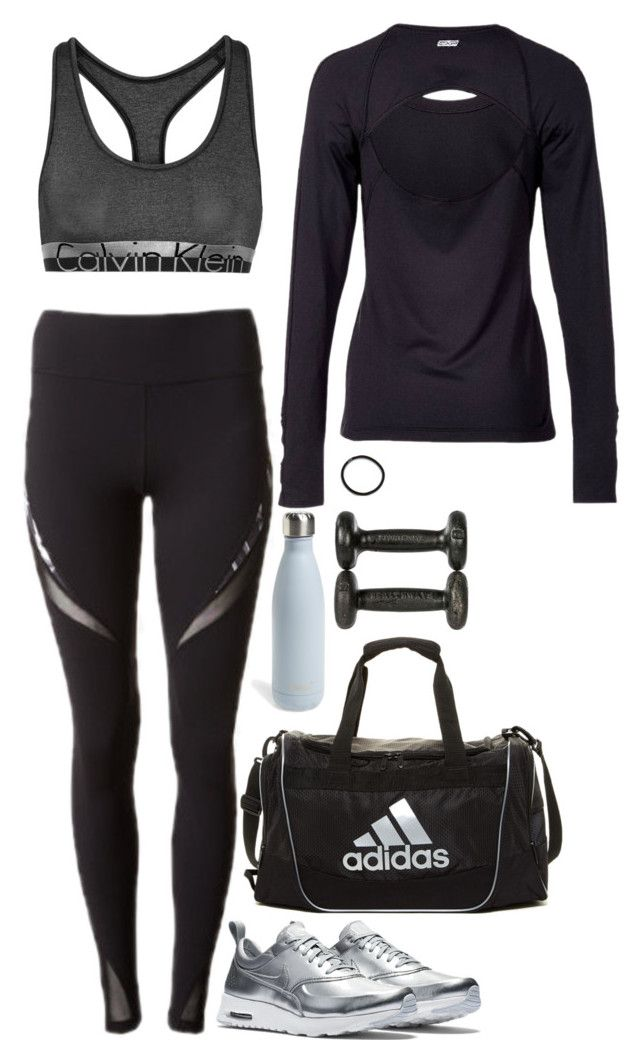 """""""2016 Gym Gear #2"""" by samikayy76 ❤ liked on Polyvore featuring Express, NIKE, Calvin Klein Underwear, adidas, S'well and Pluie"""