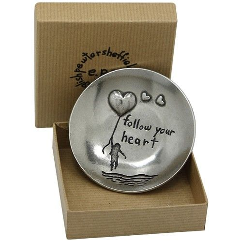 Follow Your Heart Pewter Trinket Dish  from www.personalisedweddinggifts.co.uk :: ONLY £24.99