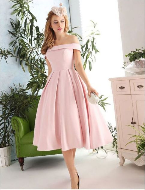 New Fashion Pink Prom Dresses Satin Prom Dress 1950s Vintage Inspired Off Shoulder Prom Formal Dress Evening Gowns