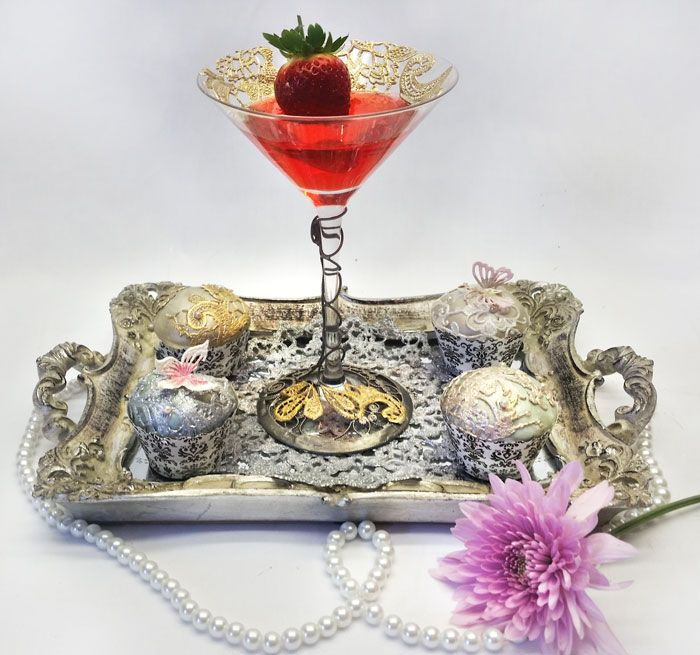 Elegant dessert dish and mini cupcake Tray all embellished with edible lace