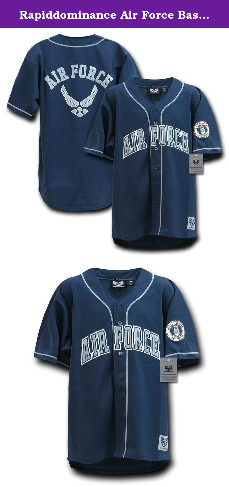 Rapiddominance Air Force Baseball Jersey, Navy, X-Large. Fully button down military logo baseball jersey with authentic military logo seal patch applique on the arm and applique text design. Military Baseball jersey. Comes in, Army, Navy, Marines, Air Force Baseball jersey. Suitable for Army Navy surplus stores, Military clothing shops.