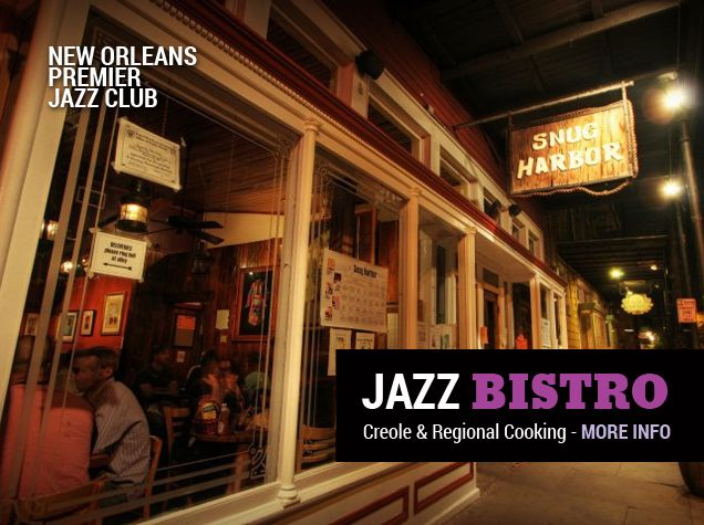 Snug Harbor Jazz Bistro is located at 626 Frenchman Street, New Orleans, LA 70119. Telephone: 504-949-0696. More info at www.snugjazz.com
