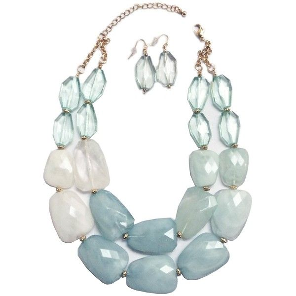 Multi Aquamarine Light Sea Glass Turquoise Mint Green Ivory White... ($27) ❤ liked on Polyvore featuring jewelry, necklaces, mint statement necklace, mint green statement necklace, white statement necklace, turquoise jewelry set and statement bib necklace