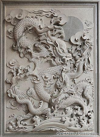 Chinese Dragon Granite Stone Carving by Jpldesigns, via Dreamstime