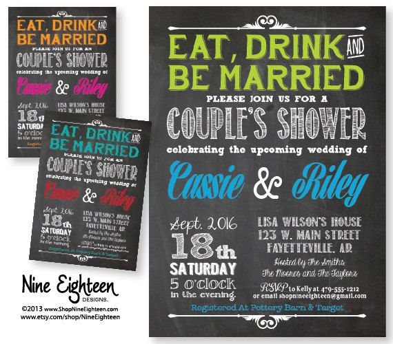 Eat Drink & Be Married Engagement Party Invitation. Custom Printable PDF/JPG. I