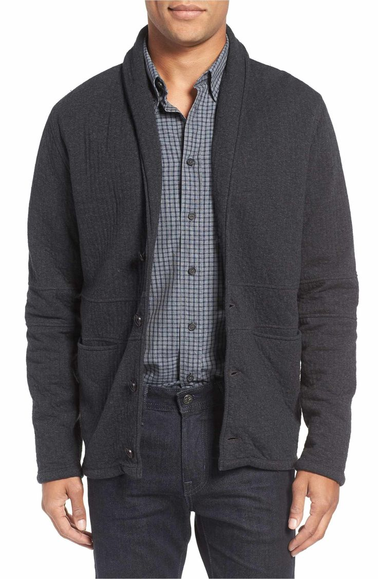 Main Image - Billy Reid Quilted Shawl Collar Sweater