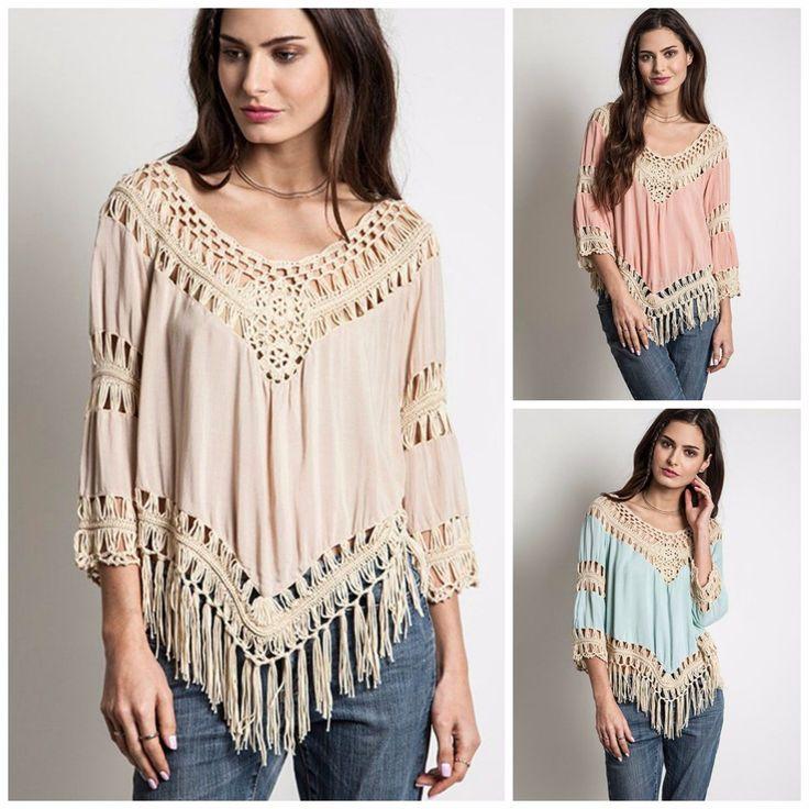 Umgee USA Crochet Fringe Frayed Bohemian Hippie Tunic Top s M L Beige Blush Mint   eBay