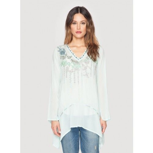 Tonal Rose Tunic The Johnny Was TONAL ROSE TUNIC features a unique embroidery design that combines floral and geometric motifs in chic ombre tones of grey, blue, and green. With long sleeves, a v-neckline, and a handkerchief hemline, this boho embroidered tunic top is as flattering as it is chic!  - Rayon Georgette - V-Neckline, Long Sleeves, Handkerchief Hem - Signature Embroidery Design - Care Instructions: Machine Wash Cold, Tumble Dry Low