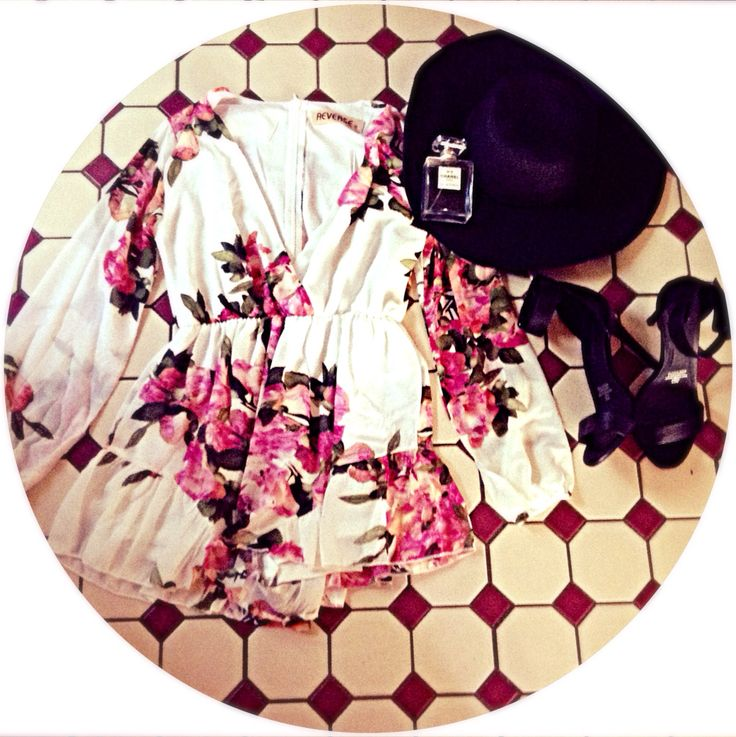 You'll feel a million bucks in this outfit; Chanel perfume, daisies in the wild play suit, novo thin strap black high heels and supr'e hat