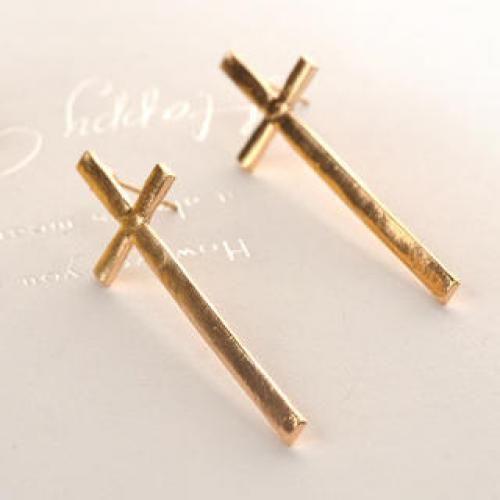Big Cross Earrings  Gold - One Size