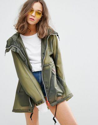 ANOTHER dark green jacket? shocker.  Hunter Womens Original Festival Raincoat #RaincoatsForWomenChic