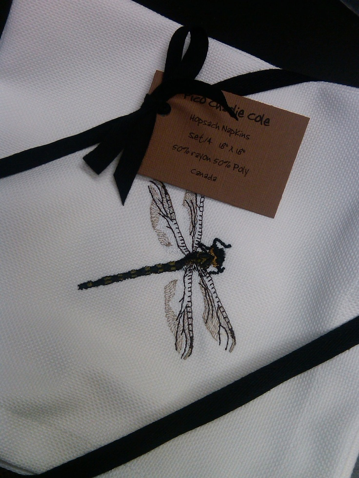 Dragonfly Hopsack Napkins Set/4 by PicoCharlieCole on Etsy. $28.00, via Etsy.