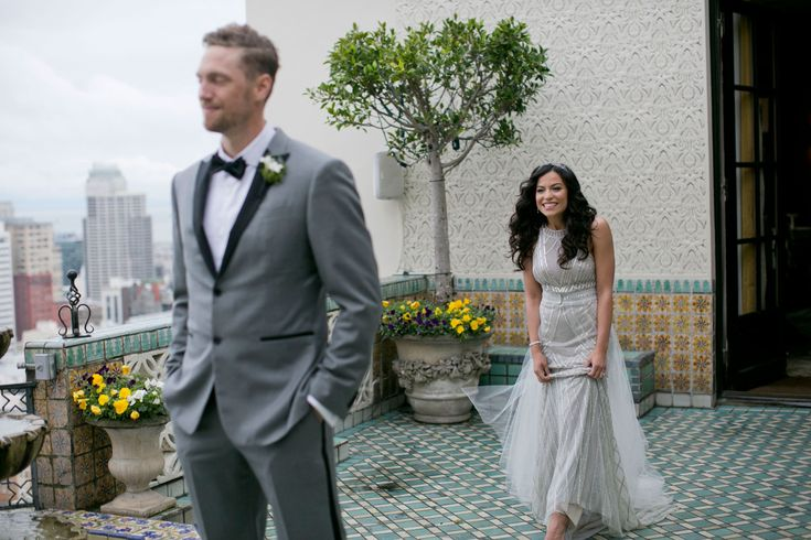 "Lets Get Lexi & Hunter Pence's ""First Look""  Photography: Mel Barlow & Co. Read More: http://www.insideweddings.com/weddings/alexis-cozombolidis-and-hunter-pence/1047/"