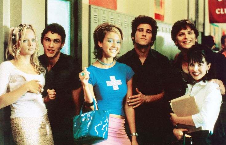 """Never Been Kissed"" movie still, 1999.  L to R: Jordan Ladd, James Franco, Jessica Alba, Branden Williams, Jeremy Jordan, Marley Shelton."