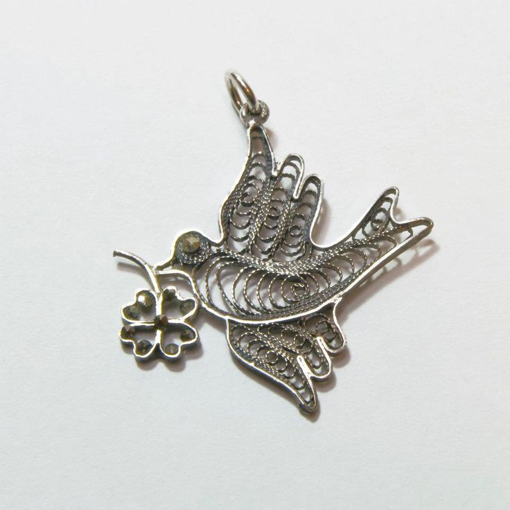 Telkari Barış Güvercini antika kolye...