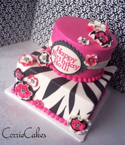 two tiered zebra/pink birthday - by Corrie @ CakesDecor.com - cake decorating website