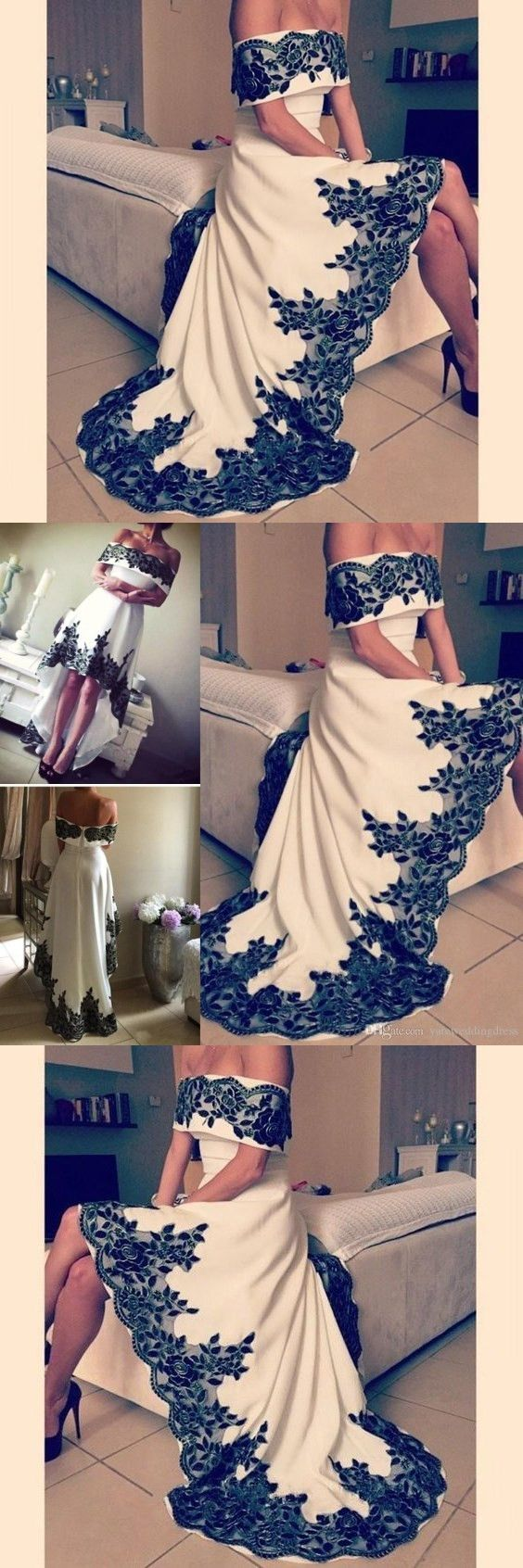 Elegant Prom Dresses Lace Party Dresses Evening Wear Short Sleeve Off Shouler Hi Low Formal Arabic Dresses M0295#prom #promdress #promdresses #longpromdress #promgowns #promgown #2018style #newfashion #newstyles #2018newprom#eveninggowns#shortsleeve#offshoulder#highlow#lace