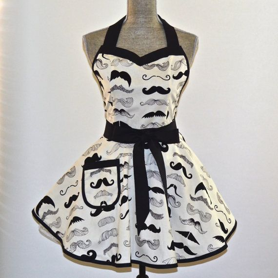 Moustache Mustache Apron Alexander Henry Where's by CucinaBambina, $38.95