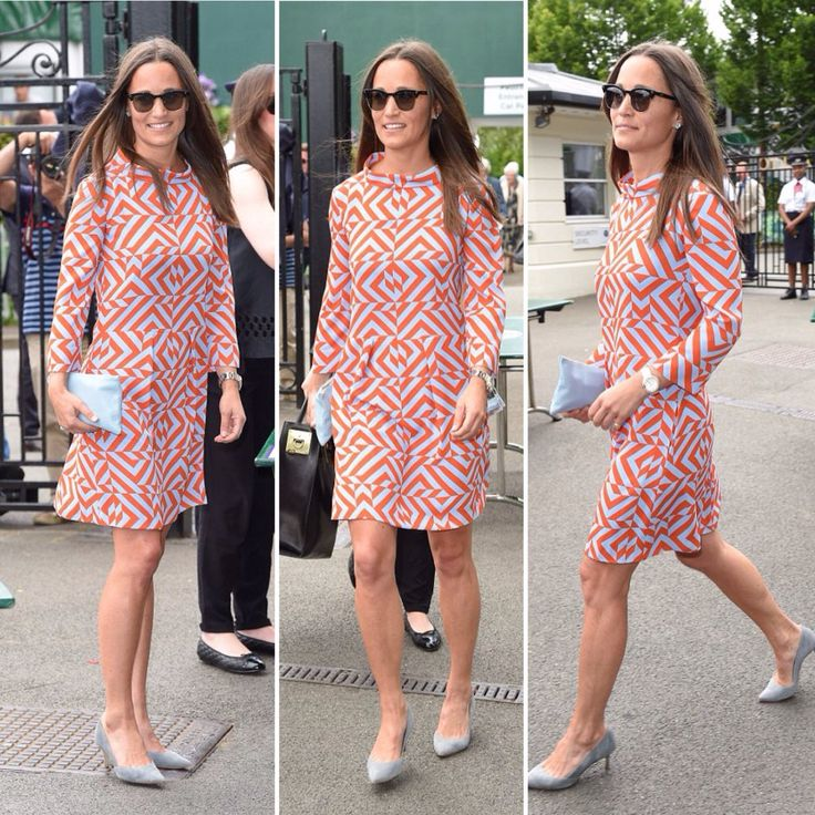 """Kelly Mathews on Twitter: """"#PippaMiddleton is stylish in a 60s-style dress to watch play on Wimbledon's Centre Court @DailyMailUK"""