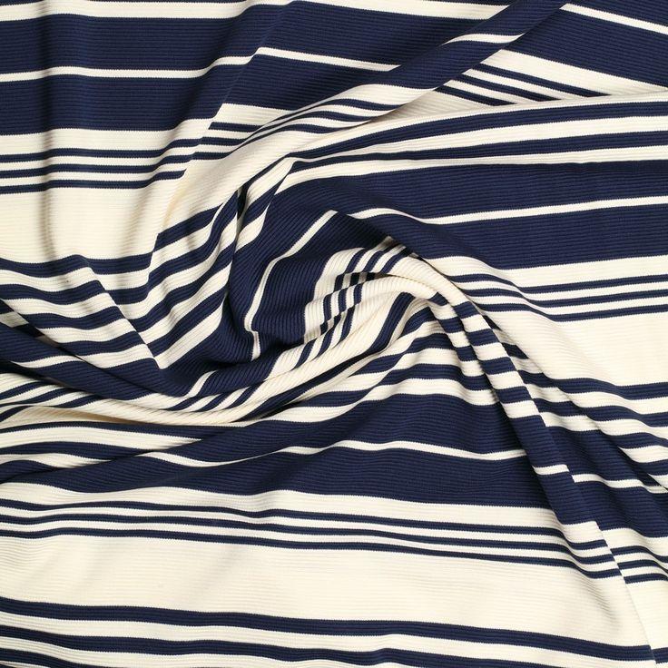 blauw ecru garengeverfd ottoman jersey