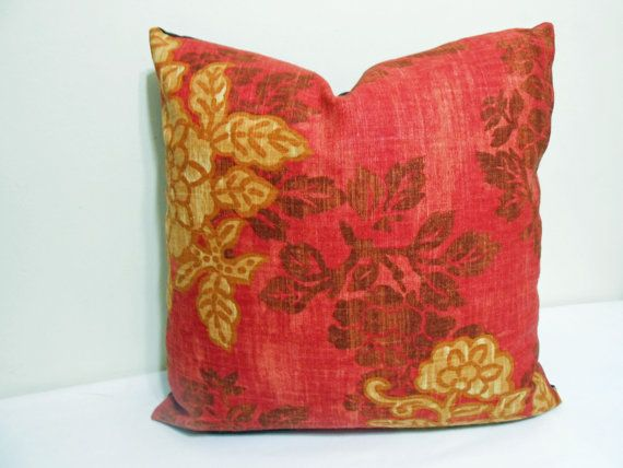 Robert Allen Red Yellow  Brown Pillow cover by ZourraDesigns, $32.00