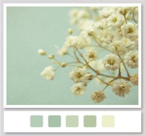 Pale blues, light greens, white