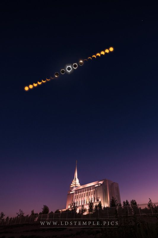An incredible photograph of the Rexburg Temple and the phases of the All-American Total Solar Eclipse on August 21, 2017, captured by Alan Fullmer.