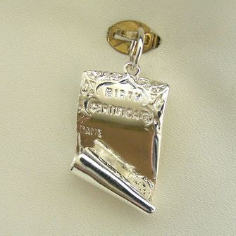 Buy our Australian made Birth Certificate Charm - chr-1655 online. Explore our range of custom made chain jewellery, rings, pendants, earrings and charms.