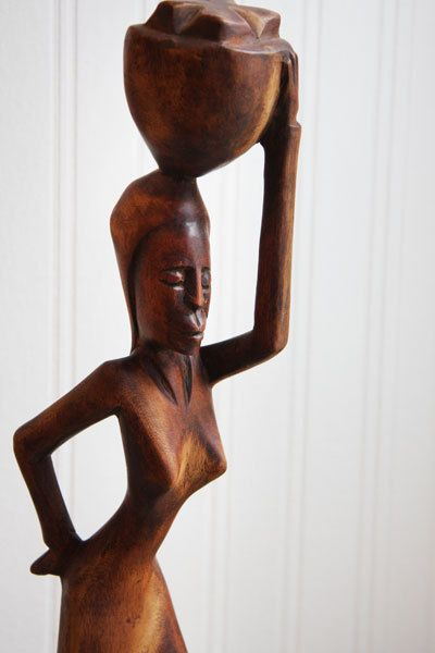 Vintage African Woman Wood Carving Mid Century Tall By