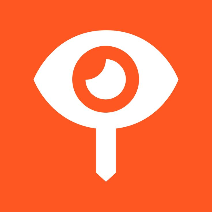EyeLocal #logo #design - The eye in the shape of a local sign board. #orange #white