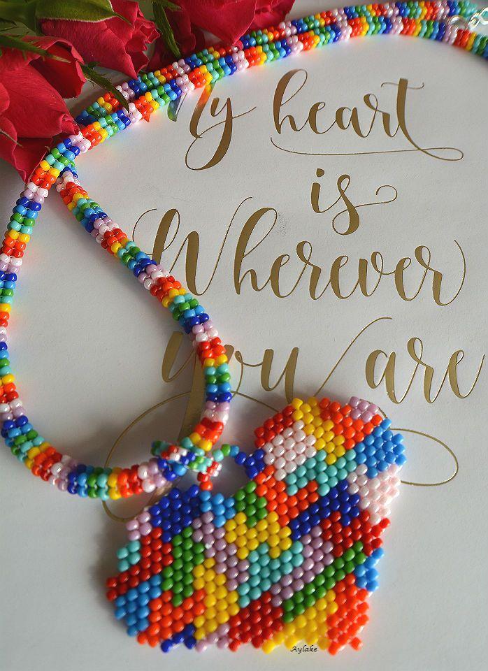 Rainbow tetris heart necklace #aylake #peyote #necklace #heart