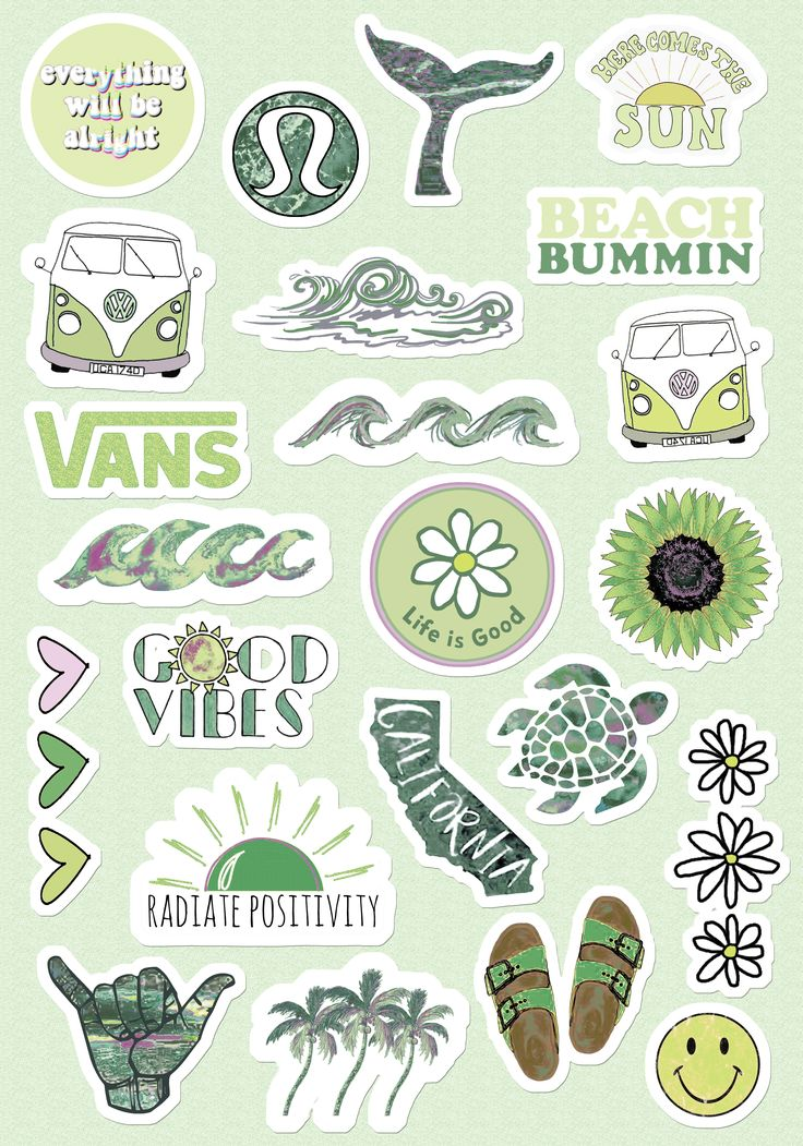 Small & Large Stickers Vsco Light BlueYellow Pink Peachy