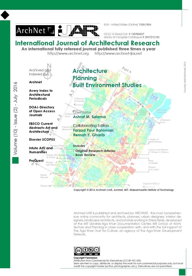 New: International Journal of Architectural Research 10, no. 2 (July 2016). Ashraf Salama., Farzad Pour Rahimian, & Remah Y. Gharib, eds.