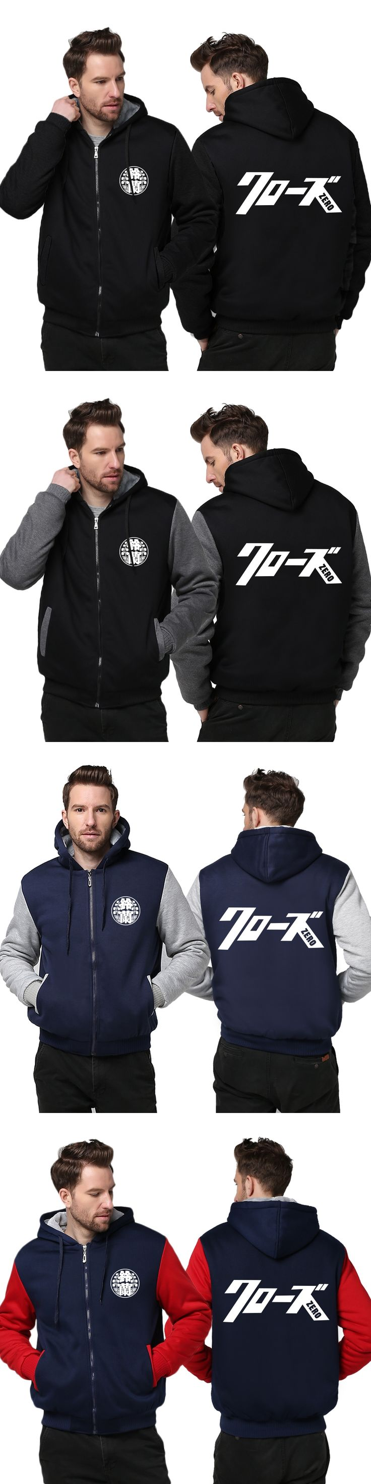 USA size Men Kurozu Crows ZERO Logo Takiya Genji Cosplay Zipper Jacket Thicken Hoodie Coat Clothing Casual Hoodies Sweatshirts