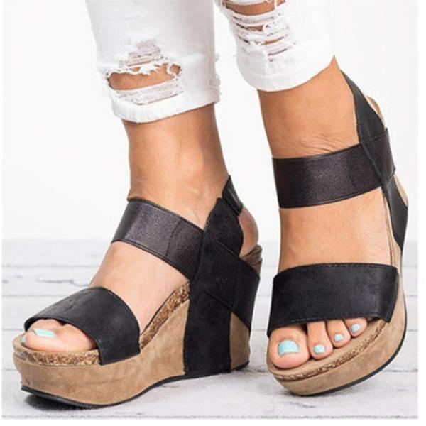 Women Elastic Wedge Platform Sandals Ladies PeepToe Strap Cork Summer Shoes Size