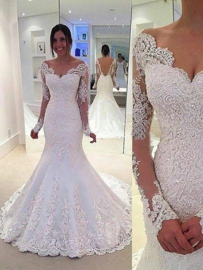 Off-the-Shoulder Backless Long Sleeves Court Train Mermaid Wedding Dress & vintage Wedding Dresses