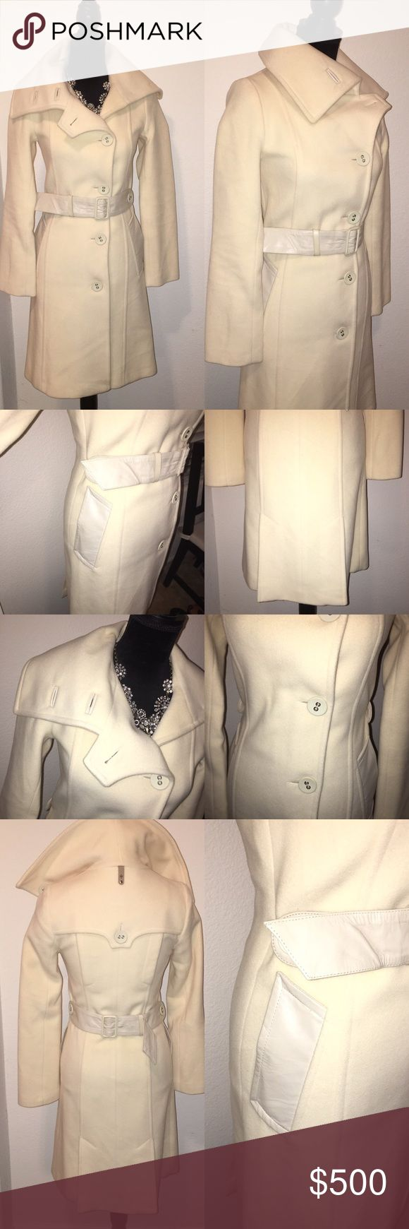 Mackage jacket xxs Cream like new no signs of wear stains or rips been sitting in the dust bag wore this once. The belt can do to the back or front depends on you. Leather belt and leather trims on the pocket and button holes Mackage Jackets & Coats Pea Coats