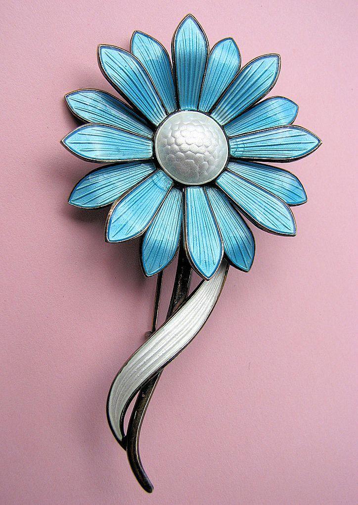 Aksel HOLMSEN Norway Sterling Guilloche Flower Pin!