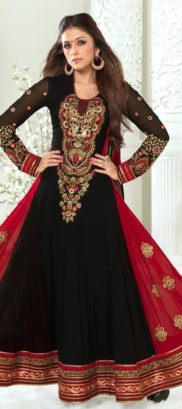 417161, Bollywood Salwar Kameez, Faux Georgette, Patch, Zari, Border, Lace, Machine Embroidery, Sequence, Black and Grey Color Family