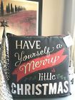 New Have Yourself a Merry Little Christmas Toss Pillow w/ Buffalo Check Back
