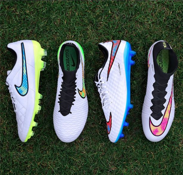 The Nike Shine Through collection, released Dec 1 2014. Includes Tiempo Legend V, Magista, Hypervenom and Mercurial Superfly.
