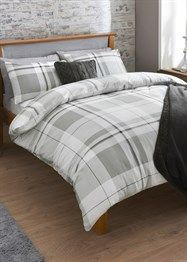 Traditional Large Check Print Brushed Cotton Bedding Set