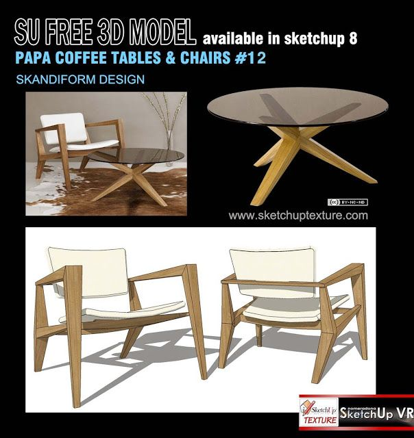 Free sketchup 3d model easy chair & table #12