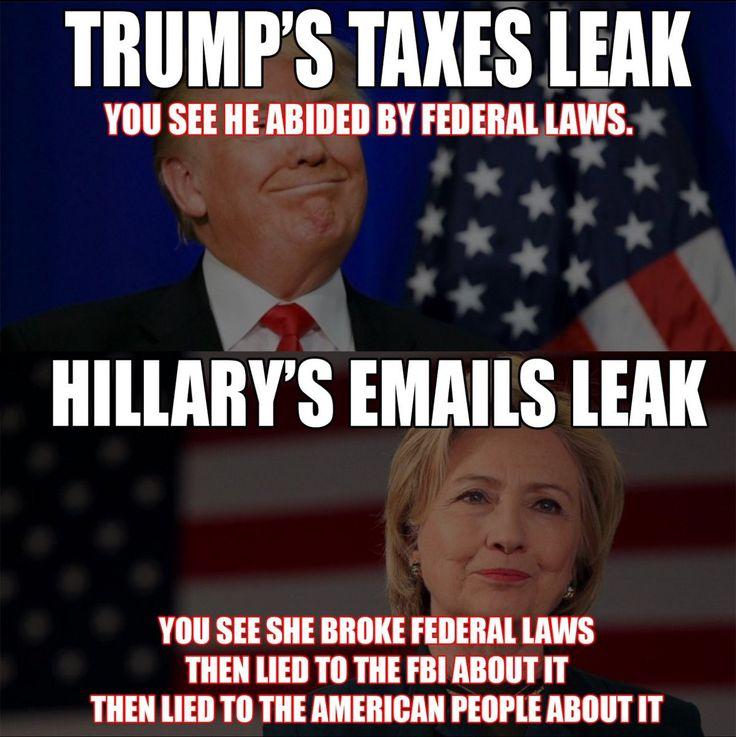 Trump's taxes leak . . .  Hillary's e-mails leak . . . | Donald Trump/Hillary Clinton