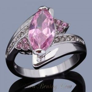 Ladies Gold Filled Ring 7US Pink Topaz CZ