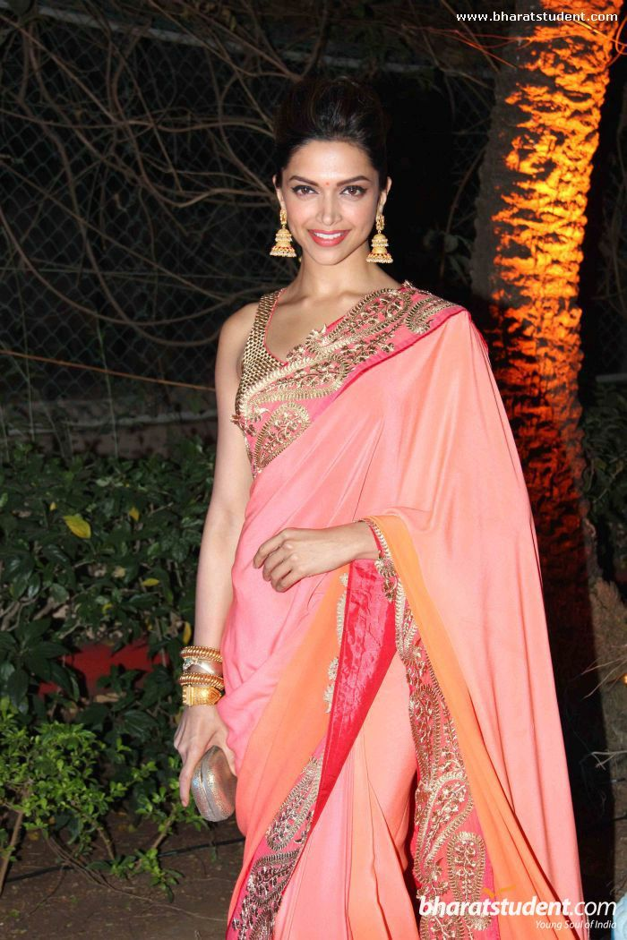 Deepika Padukone in Jade sari at Ahana Deol wedding