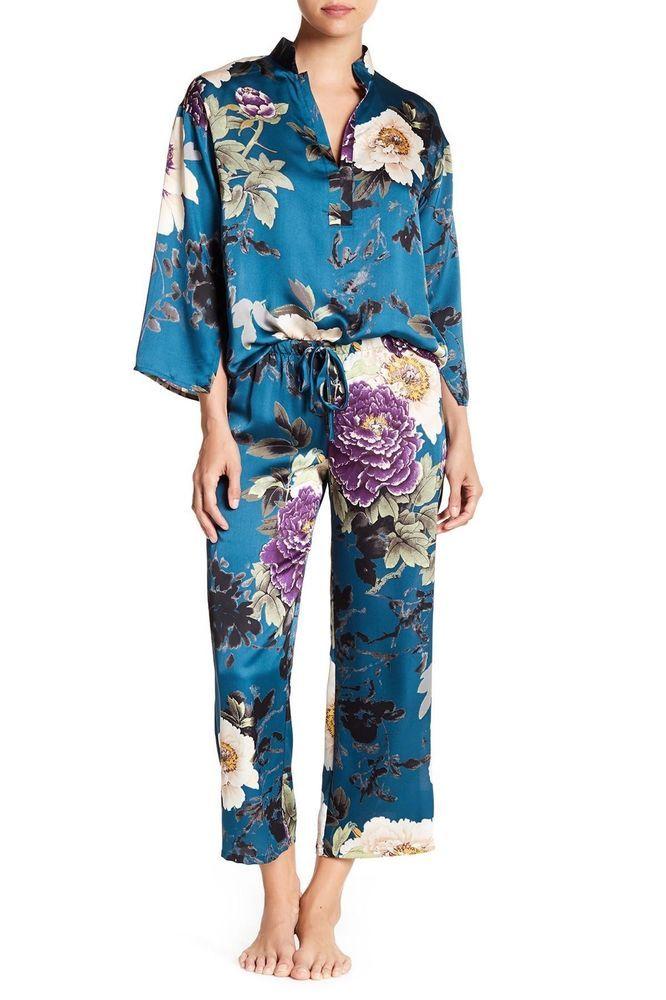 7f140c5ed2 N By Natori Blue Floral Dynasty Pj Set Pajamas Pjs Top And Bottom Medium  New