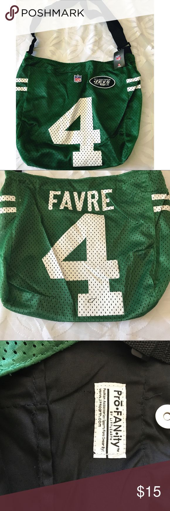 """NFL New York Jets  Brett Favre #4 Jersey Tote NWT NFL New York Jets Brett Favre #4 Jersey Tote NWT -  17"""" x 13"""" New York Jets Bags Totes"""