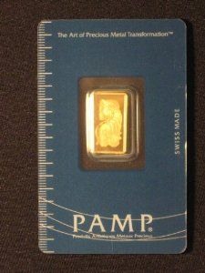 Pamp Suisse 1gm .999 Fine Gold Bar With Assay Card