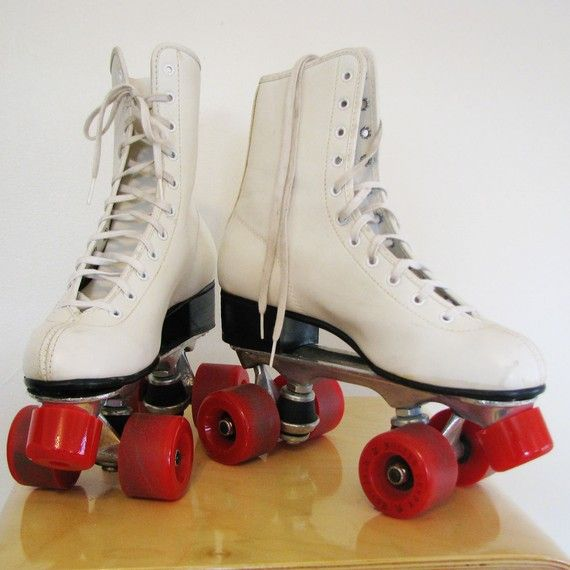 Retro Roller Derby Roller Skates in White with by MidwestSplendor